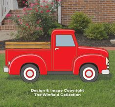 New Items - Red Truck Changeable Display Pattern Christmas Wood Crafts, Outdoor Christmas, Diy Christmas Yard Art, Wooden Christmas Yard Decorations, Truck Crafts, Wood Yard Art, Red Truck Decor, Christmas Red Truck, Vintage Red Truck