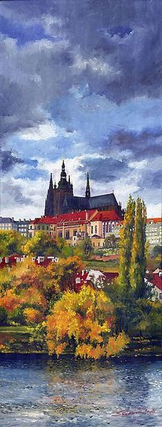 Gallery of artist Yuriy Shevchuk: Oil Cityscape Paintings, Prague Paintings I Love, Beautiful Paintings, Monuments, River Painting, Prague Castle, Naive Art, Art Pages, Lovers Art, Fine Art America