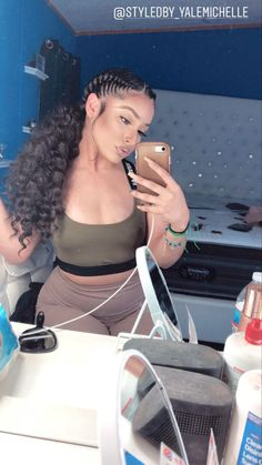 Feed In Braids Hairstyles, Hair Ponytail Styles, Braids Hairstyles Pictures, Black Girl Braided Hairstyles, Baddie Hairstyles, Curly Hair Styles, Ponytail With Weave, Braids For Black Hair, Hair Inspiration