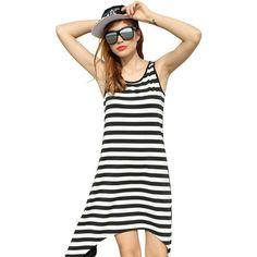 Mini Dresses Korean Beach Women Striped Sleeveless Print Asymmetric Hem Shift Loose Tank Boho Sexy Dress Summer Dresses 2016 30d