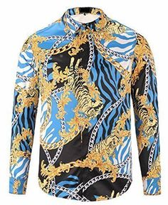 Pizoff Mens Long Sleeve Luxury Gold Round Floral Shirt #Pizoff #MENS
