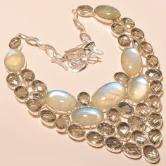 VERY NICE RAINBOW MOONSTONE WITH WHITE TOPAZ - 925 SILVER JEWELRY NECKLACE  #Unbranded #Choker