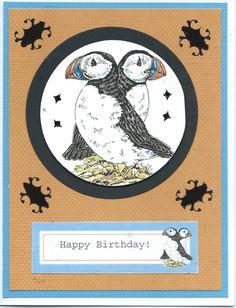 2 puffins birthday card