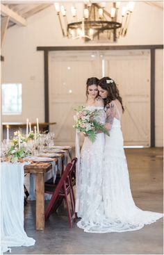 Dairyland french rustic lesbian 2 brides wedding. Romantic. Feminine. Calligraphy. Ferns. Candlelight