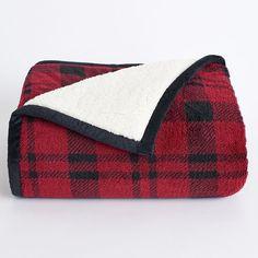 Cuddl Duds Premium Sherpa Fleece Throw, Red