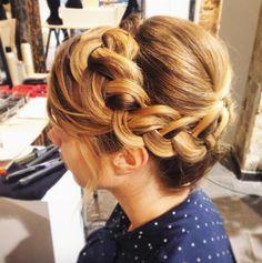 hairstyle, updo, braid, blond hair, 365c, 365coiffures, coiffure