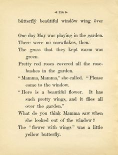 Victorian Girl Discovers a Butterfly Free Printable Antique School Reader Page