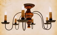 Primitive Country Lighting Lamps Shades Bulbs Chandelier
