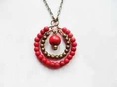 Scandinavian / Nordic style necklace with brass and red beads, wire jewelry with man made turquioise and wood