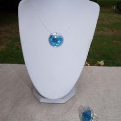 Parure bijoux collier et bague en verre