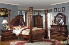 Royale Poster Canopy Bedroom Furniture with Marble Accents Free Shipping ShopFactoryDirect.com