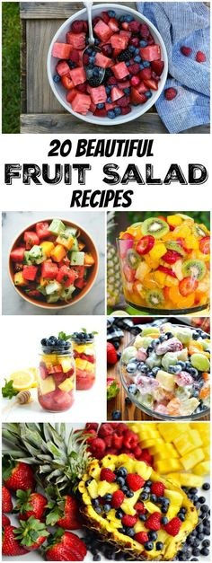 20 Beautiful Fruit Salad Recipes : the perfect recipes for summer cookouts and potlucks.  Great recipes for a 4th of July BBQ.
