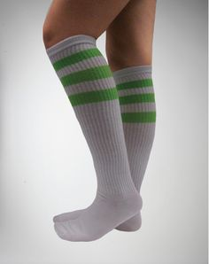 White With Neon Green Athletic Stripe Knee High Socks