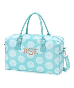 Look at this #zulilyfind! Aqua Medallion Monogram Weekender #zulilyfinds