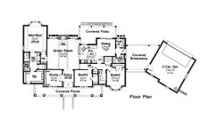 First Floor Plan of Colonial   Southern   House Plan 66007