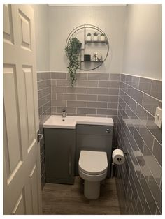 Small Downstairs Toilet, Small Toilet Room, Downstairs Cloakroom, Small Toilet Decor, Laundry In Bathroom, Tiny Wet Room, Master Bathroom, Bathroom Design Small, Bathroom Layout