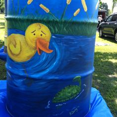 Finished rain barrel side 1- to be auctioned off by oak ridge garden club