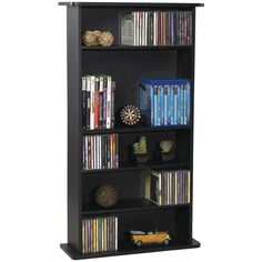 Cabinet Shelf Tower Storage Rack Great Organizer for Media, Multimedia, DVDs, CDs, BluRay Black Color The DrawBridge 240 Media Cabinet has a classic design that complements all types of home decor. The compact frame fits almost a. Dvd Storage Tower, Media Storage, Storage Shelves, Storage Organization, Cabinet Storage, Media Shelf, Game Storage, Storage Ideas, Gameroom Ideas