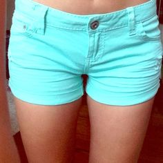 Mint Green Shorts They are slightly distressed for fashion reasons and are the perfect length for the summer! They are a size 9, but Fit like a 6/7 Wet Seal Shorts
