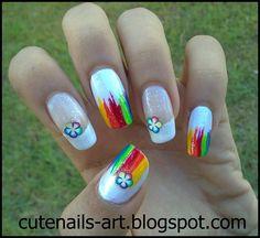 maroc-cutenails-art: Rainbow Flowers Nail Art using fimo slices