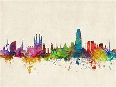 Barcelona Skyline Barcelona Spain Cityscape Art Print от artPause