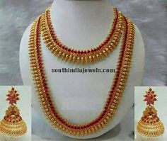 South Indian Wedding Imitation Jewellery set consisting of Necklace, Long haram and two sets of earrings all studded with kemp rubies and emeralds. Indian Bridal Jewelry Sets, Silver Jewellery Indian, Wedding Jewelry Sets, Kerala Jewellery, Bridal Jewellery, Jewellery Earrings, Jewelry Art, India Jewelry, Temple Jewellery