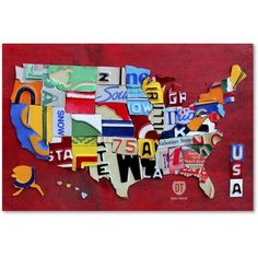 Trademark Fine Art 'License Plate Map Miniature' Canvas Art by Design Turnpike, Size: 30 x 47, Multicolor