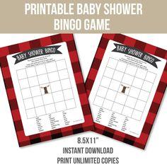 printable buffalo plaid woodland baby shower bingo game! instant download.