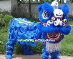 chinese lion dance  | Traditional Chinese Blue Lion Dance Costume Complete Set Czech ...