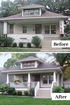 Before & Afters The Craftsman character of Augie and Ellyn Annoreno's 1924 bungalow, in Bartlett, Il Craftsman Bungalow Exterior, Bungalow Porch, Craftsman Style Porch, Bungalow Homes, Craftsman Bungalows, Craftsman Front Porches, Craftsman Remodel, Craftsman Houses, Craftsman Interior