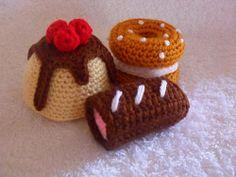 Ravelry: Bakery Treats Collection 01 pattern by CGW JoanitaTheron Crochet Cake, Crochet Food, Cute Crochet, Crochet For Kids, Crochet Crafts, Crochet Dolls, Yarn Crafts, Crochet Projects, Crocheted Toys
