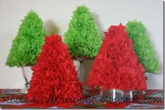 Use a cone-shaped party hat as the base for this tissue paper christmas tree.