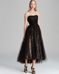 ML Monique Lhuillier Tea-Length Tulle Over Metallic Lace Gown - Strapless PRICE: $500.00