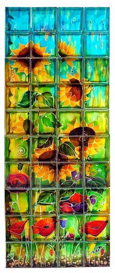 painted glass blocks Sunflowers 40