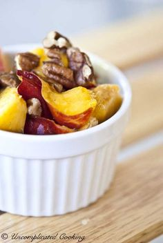Crazy good and simple to make! Nectarine & Pecan Fruit Salad from www.UncomplicatedCooking.com