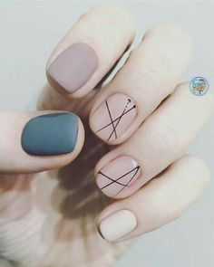 Slate blue, taupe, and nude nails with black geometric line accents. ― re-pinned by Breanna L. ~Follow me and never miss a new nail design!~