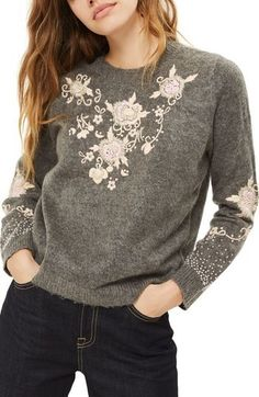 Grey sweater from top shop with pearls and amazing floral embroidery. (affiliate link)