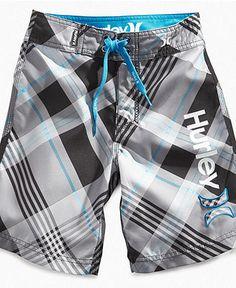 Bryan- Hurley Kids Shorts, Little Boys Contrast Plaid Board Shorts