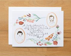 beautiful and unique wedding invites by kelsey garrity-riley.. link includes how to order them