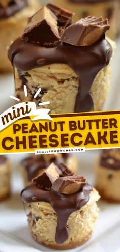 Indulge in these Mini Peanut Butter Cheesecakes topped with Ghirardelli chocolate and Reese's mini peanut butter cups! This easy peanut butter dessert recipe is a great addition to your 4th of July dessert ideas! Small Desserts, Mini Desserts, Easy Desserts, Delicious Desserts, Yummy Food, Fun Food, Cheesecake Toppings, Peanut Butter Cheesecake, Cheesecake Recipes