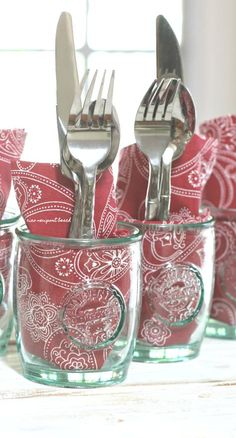 The grown-ups' will have their utensils and napkins ready to go too! These recycled glasses are so practical, cute and affordable, I now have a few different sets in different shades of blue and green.