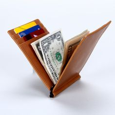 Free Shipping unisex italian Vegetable Tanned Leather money clip Wallet /Money Clip Card Holder /brand wallet $30.00
