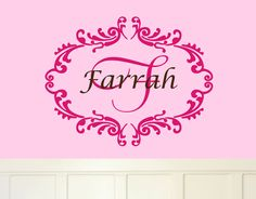 Name Vinyl Wall Decals Shabby Chic Wall Decal Elegant Fancy - Monogram vinyl wall decals for girls