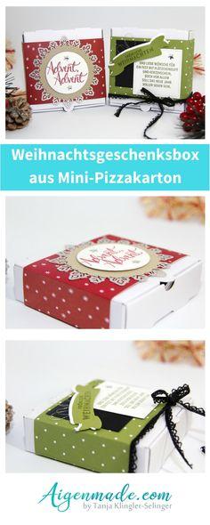 Weihnachtsgeschenksbox Mini-Pizzakarton StampinUP Bastelidee