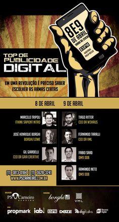 Dias 08 e 09 de abril acontecerá o evento: TOP DE PUBLICIDADE DIGITAL. Alunos e ex-alunos ESPM tem 50% de desconto no evento!