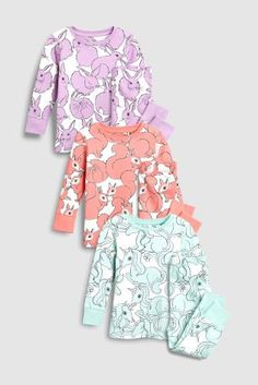 Buy Lilac/Mint/Coral Character Printed Snuggle Fit Pyjamas Three Pack from the Next UK online shop Latest Fashion For Women, Mens Fashion, Mint Coral, Little Princess, Pyjamas, 6 Years, Snuggles, Nightwear, Lilac