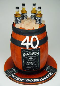 Jack Daniel's Birthday Cake in London 40th Cake, Dad Cake, 40th Birthday Cakes, Jack Daniels Cake, Jack Daniels Birthday, Cupcakes Delivered, Barrel Cake, London Cake, Cakes For Men