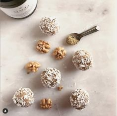 "Mauli Rituals on Instagram: ""AYURVEDIC HERBAL PROTEIN BALLS⁠ Thanks @myredcarpetbody for these delicious and nutritious plant-based protein walnut lemon balls infused…"" Ayurvedic Recipes, Protein Ball, Plant Based Protein, Alchemy, Balls, Herbalism, Lemon, Healthy Recipes, Cake"