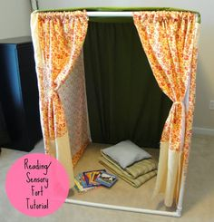 PVC Pipe Solutions! DIY pvc pipe reading nook or play house for your classroom or child's room. Too cute. Easy tutorial.