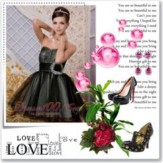 """""""Black A-line / Princess Sweetheart Mini-length Tulle Hand Made Flower Prom / Homecoming Dress"""" by prettydressesforyou ❤ liked on Polyvore"""